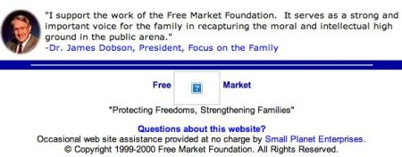 Free Market Foundation homepage, 2000