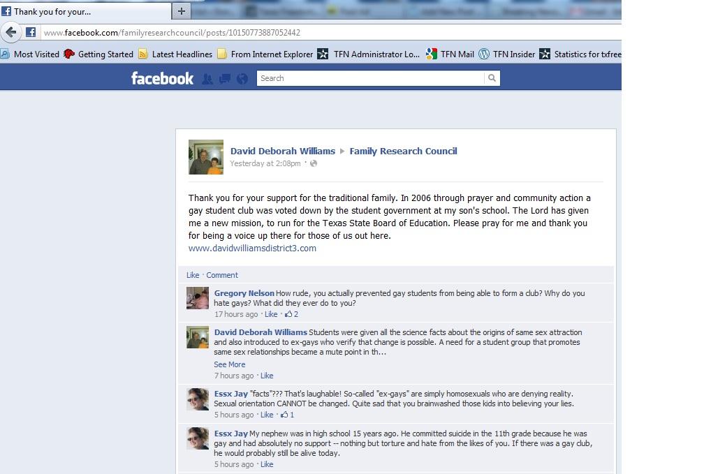 TX SBOE Candidate Posts Anti-gay Views on FB | Texas Freedom